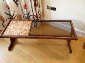 G Plan Vinrage 1970's Glass and Tiled teak fresco coffee table