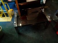 Coffee Table In Acrylic/Polished Stainless Steel/Clear Glass