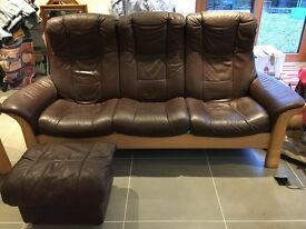 SOLD - Stressless sofa, armchair and footstool.