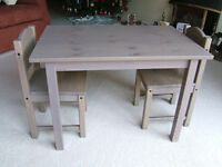 CHILDRENS TABLE and 2 CHAIRS, VGC, IKEA SUNDVIK, SOLID WOOD, GREY-BROWN TRANSLUCENT COLOUR