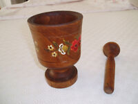 Swiss Hand-Made Hand-Painted Wood Pestle and Mortar