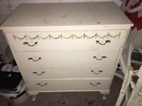 Vintage regency style 70s chest of drawers cabriolet legs needs TLC
