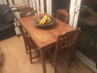 Solid wood antique pine shabby chic dining table & 4 chairs