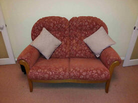 Two Seater Sofa, Two Arm Chairs & Foot Stool.