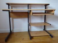 Office/computer desk, metal frame, multi shelf, wood effect