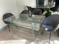 Glass Dining Table With Stone Effect Shelf and Tempered Glass ,