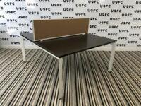 Steelcase Frameone Bench desks in Walnut and White