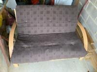 Wooden double futon / sofa-bed