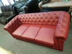 Chesterfield Red Leathers Sofa 3+2
