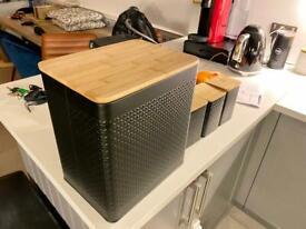 Bread bin & 3 storage tins set (tea, coffee etc)