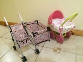 Pram, cot and pushchair for small doll