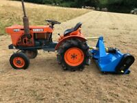 Kubota B7001 2WD Compact Tractor with New 4ft Flail Mower, 18HP