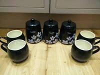 Coffee, Sugar and Tea storage jars plus 4 hug a mugs