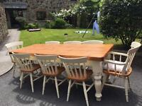 Reclaimed pine table & 8 chairs.