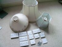 3x Lamp Shades and various electrical sockets