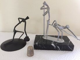 2 Scottish-made Giacometti style metal sculptures