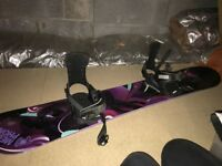 Snowboard, bindings, boots & helmet for sale