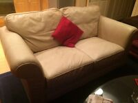 Leather cream 2 seater sofa