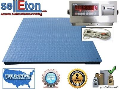 Heavy Duty Warehouse Floor Scale 7 X 7 84 10000 Lbs X 1 Lb Printer