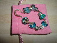 RHONA SUTTON SILVER BRACELET & BLUE GLASS CHARMS