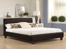 **WOW OFFER** BRAND NEW DOUBLE LEATHER BED IN BLACK AND BROWN COLOURS WITH DEEP QUILTED MATTRESS