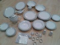 Royalty Line 56 Piece Dinner set, NEW, Boxed, White, Gold trim pattern