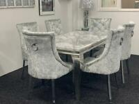 Louis marble dining table + 6 silver crushed velvet french knocker chairs