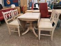 Limed oak dropleaf table and 4 chairs