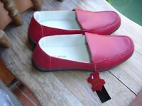 Ladies Red Leather Loafers size 7 Brand New with Tags!
