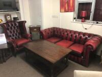 Oxblood chesterfield sofa * free furniture delivery *