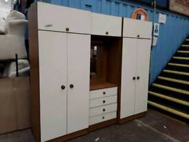 Large Storage Unit Set. 2 Wardrobes, Drawers and Mirror.