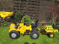 Ride On Pedal JCB Tractor Digger Front Loader and Trailer