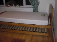 Pine 3 ft Single Bed with Underbed/Guest Bed and One Mattress - NEED TO SELL QUICKLY AS MOVING!!
