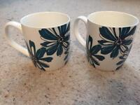 Set of two real flowered mugs £1