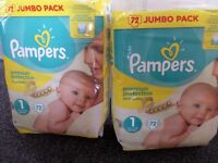 Pampers nappies-Size 1-144 nappies (2 packs of 72)
