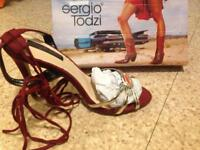 Sergio todzi brand new dark red gold and orange knee high heel shoes