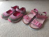2x Girls Pink Sparkly summer shoes- Sandals *Brand New* infant size 8 (26)