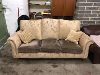 Beige and brown 3 seater sofa