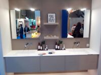 Dansani Calidris 230cm Vanity Unit inc Double Worktop Basins, 2 Mirrors Linen Matt RRP £10314