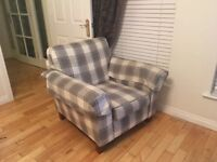 Large Black Leather Sofa & 2 Grey Check Armchairs for Sale