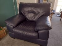 Blue Leather DFS Armchair & Pouffe - FREE!