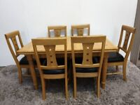Oak Holmewood Extending Dining Table 6 Chairs 2 Additional Leaves Used Furniture