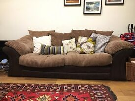 DFS brown fabric 3-seater sofa, pillow back (2 available, £80 each)