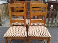 4 dining chairs,solid white oak,ladder back,high back,sturdy