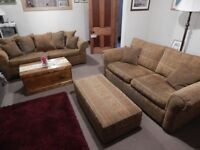 1 x large (4 seater) sofa; 1 x medium (3 seater) sofa; 1 x large footstool