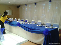 Wedding Chair Covers for Hire 50 for £100 including sashes and set up, other decor also available