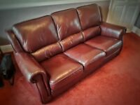BROWN LEATHER 3 SEATER SOFA - REALLY GOOD CONDITION!