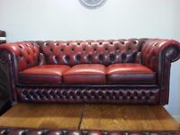 Lovely condition large three setter ox blood leather chesterfield.