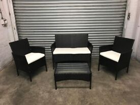 FREE DELIVERY BLACK GARDEN RATTAN SOFA, CHAIRS & TABLE SET GREAT CONDITION