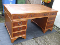 A large antique reproduction yew wood pedestal desk 60ins (152cm) wide